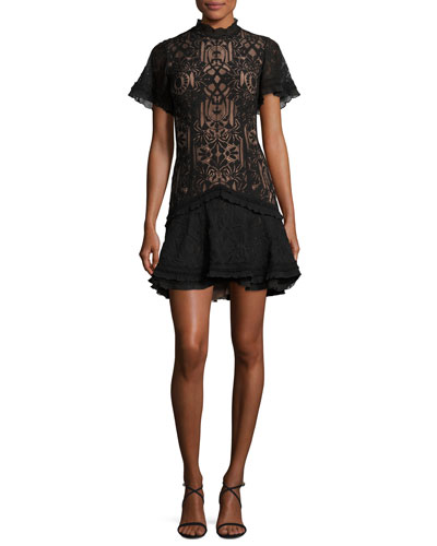 Tower Mesh Lace Ruffled Cocktail Mini Dress