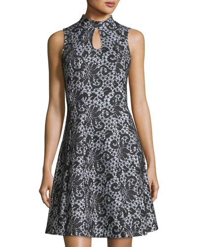 Sleeveless Keyhole Lace-Print Dress