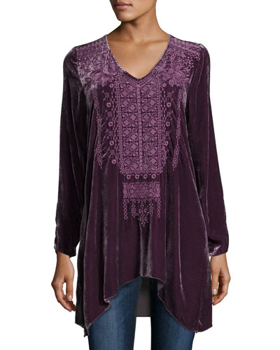Petite Sassi Long-Sleeve Velvet Tunic