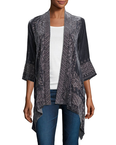 3/4-Sleeve Velvet Draped Cardigan, Petite
