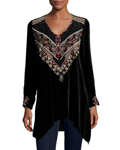 Landon Embroidered Velvet Tunic, Petite