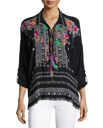 Indie Feather-Embroidered Blouse, Petite