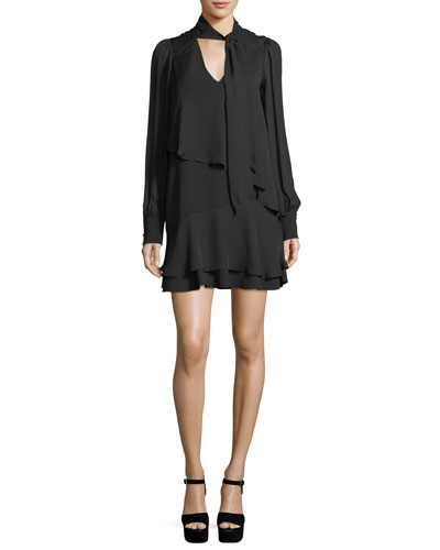 Kenji Layered Tie-Neck Long-Sleeve Dress