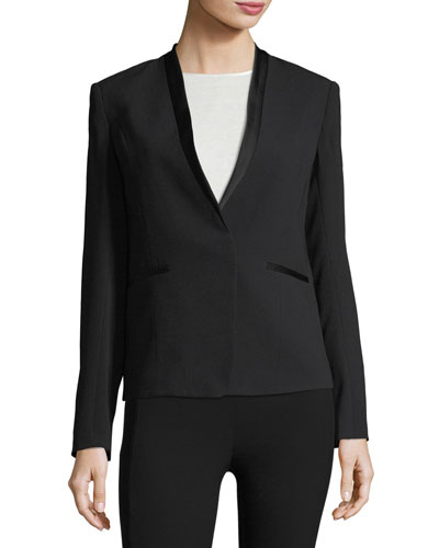 Bowman Collarless Crepe Blazer