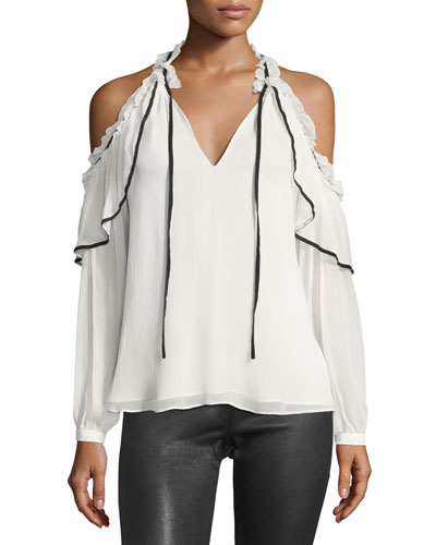Ventura Split-Neck Cold-Shoulder Chiffon Blouse