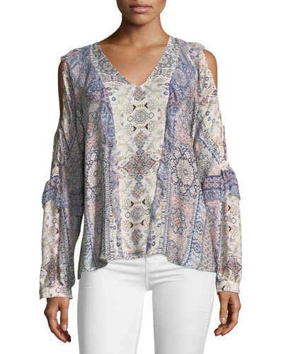 Alice Printed Cold-Shoulder Silk Blouse