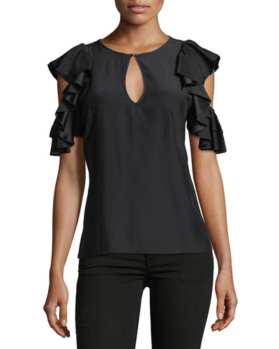 Brandie Jewel-Neck Ruffled Silk Blouse