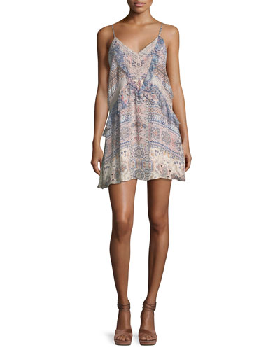 Magda V-Neck Combo Silk Mini Dress