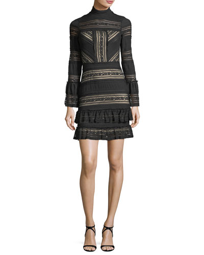 Topanga Mock-Neck Fitted Lace Dress