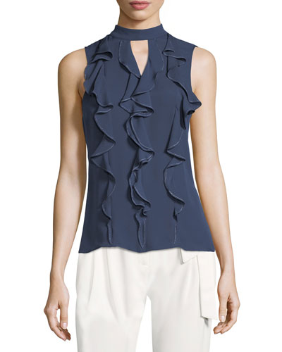 Odyssey Sleeveless Ruffled Silk Blouse