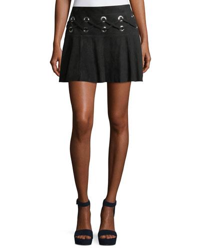 Milos Lace-Up Suede Mini Skirt w/ Grommets