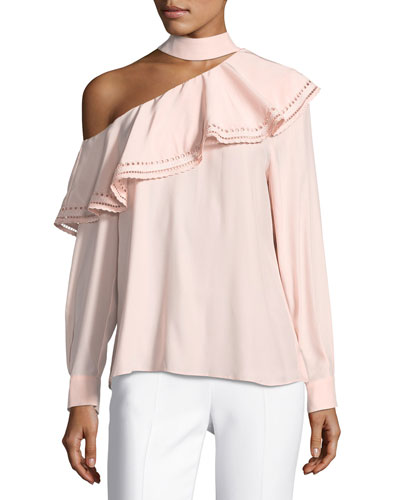 Bellini One-Shoulder Silk Blouse w/ Eyelet