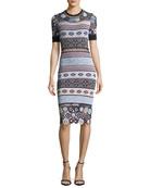 Carol Crochet Knit Fitted Dress w/ Rings