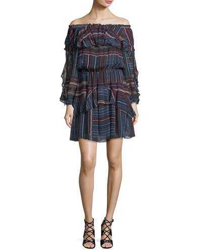 Palermo Off-the-Shoulder Printed Chiffon Mini Dress