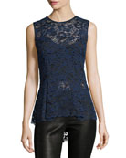 Corded Lace Back-Zip Sleeveless Peplum Blouse