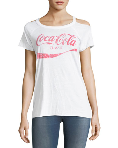 Classic Cold-Shoulder Coca Cola Tee, White