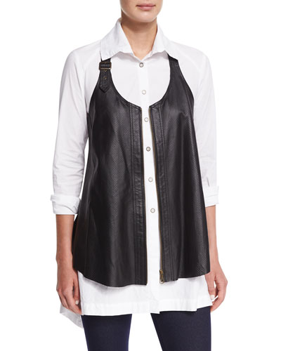 Upstage Perforated Leather Vest, Plus Size