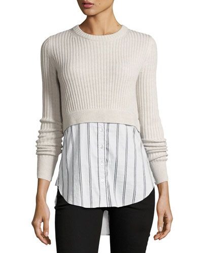 Garrett Cashmere Sweater w/ Striped Shirting