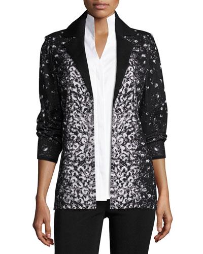 Luxe Leopard-Print Jacket, Petite