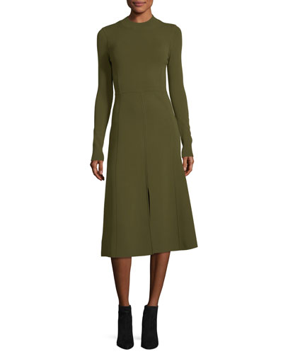 Beau Crewneck Long-Sleeves Paneled A-Line Midi Dress