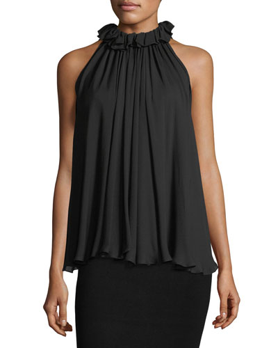 High-Neck Ruffled Sleeveless Silk Top