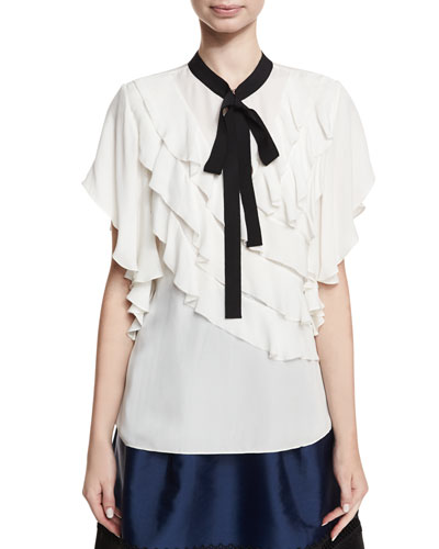 Ruth Ruffled Necktie Short-Sleeve Blouse