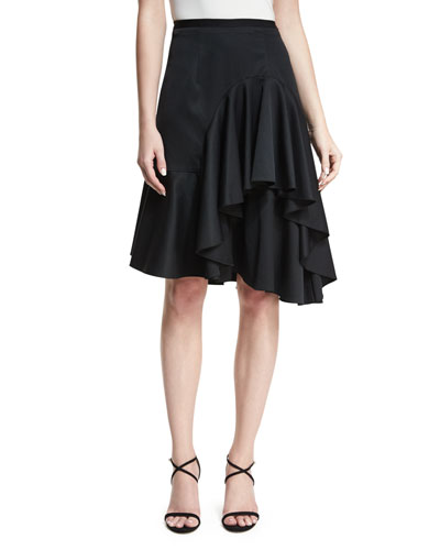 Simone High-Waist Ruffled Satin Skirt