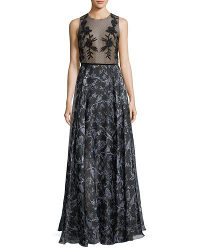 Susie Mixed-Media Sleeveless Mesh Printed Evening Gown