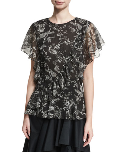 Rosie Floral-Printed Chiffon Top