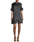 Maggie Floral-Print Chiffon Ruffled A-Line Dress