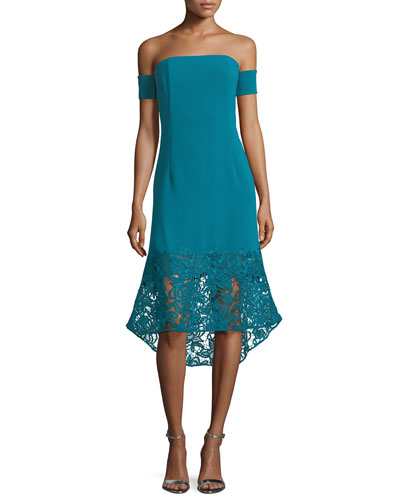 Indure Off-the-Shoulder Lace-Hem Sheath Cocktail Dress