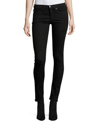 Debbie Exposed Fly Skinny Jeans, Black