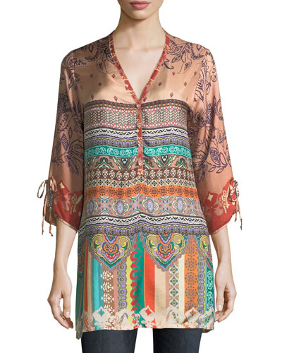 Cavalan Mixed-Print Georgette Blouse
