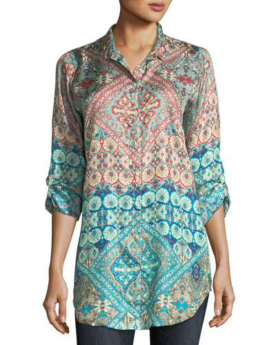 Paolomo Button-Front Silk Tunic, Plus Size