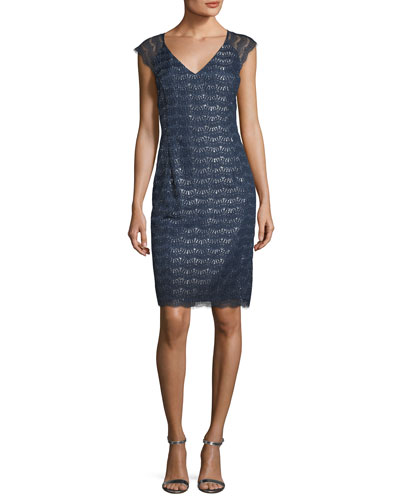 Sparkling Scalloped Lace Sheath Dress