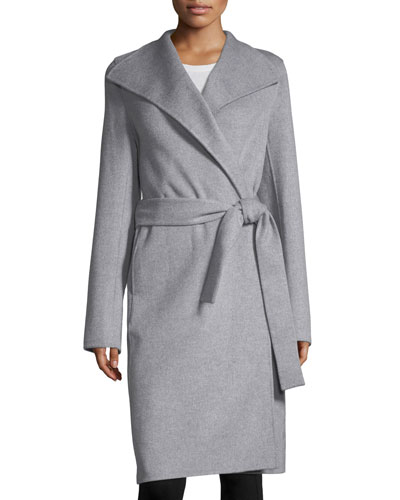 Double-Faced Wool-Blend Wrap Coat