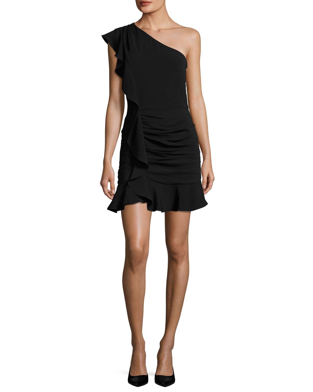 Kingston Asymmetric Ruched Ruffled Mini Cocktail Dress
