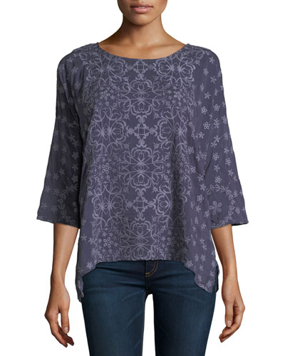 Jossy Embroidered 3/4-Sleeve Top