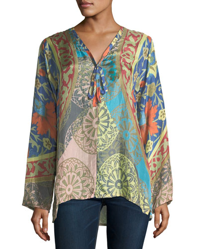 Peppa Printed Silk Georgette Top, Plus Size