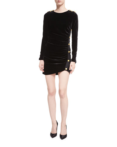 Ira Side-Ruched Long-Sleeve Velvet Cocktail Dress