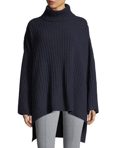 Soft Ribbed Wool Poncho