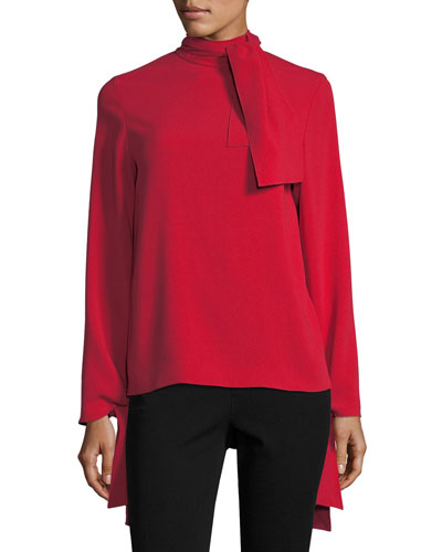 Todd Long-Sleeve Tie Neck Blouse
