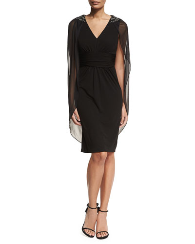 V-Neck Jeweled Sheath Cocktail Dress w/ Capelet