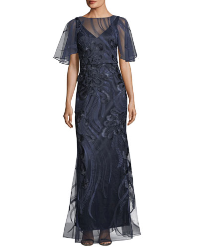 Flutter-Sleeve Embroidered Mesh Evening Gown