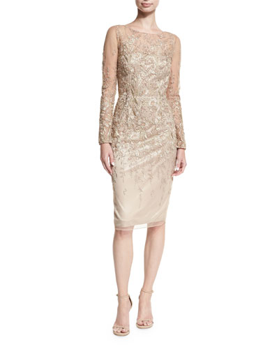 Long-Sleeve Embroidered Metallic Lace  Cocktail Dress