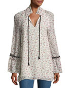 Floral-Print Chiffon Tunic Top w/ Lace
