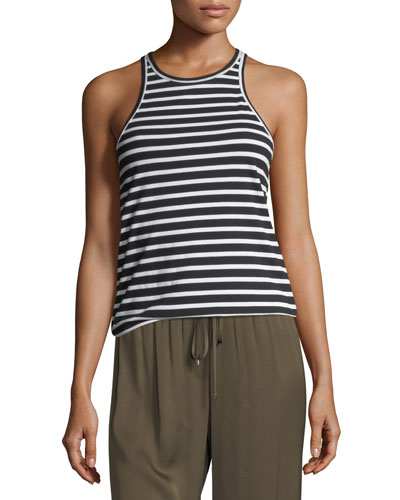 Striped Jersey Racerback Tank Top