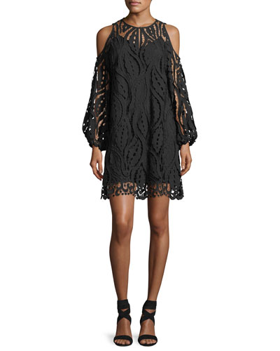 Veretta Cold-Shoulder Lace Guipure Cocktail Dress