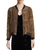 Leopard-Print Silk Bomber Jacket