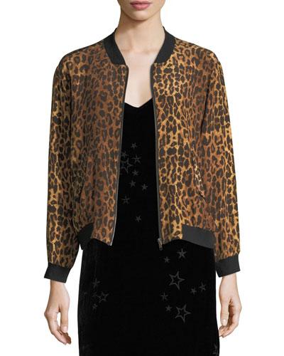 Leopard-Print Silk Bomber Jacket, Petite
